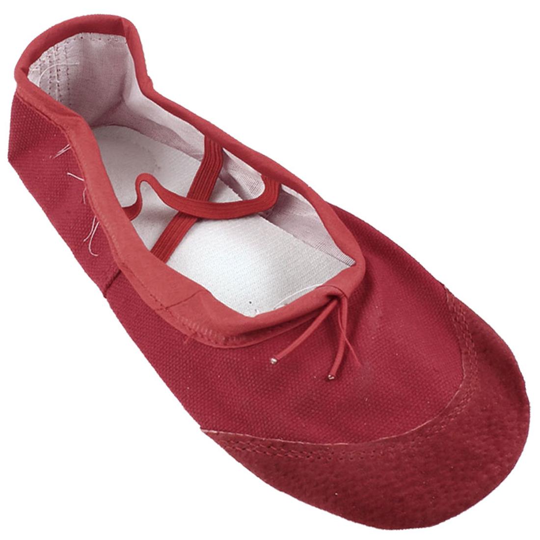 Women Red Faux Leather Split Sole Canvas Ballet Flats Shoes US 5.5
