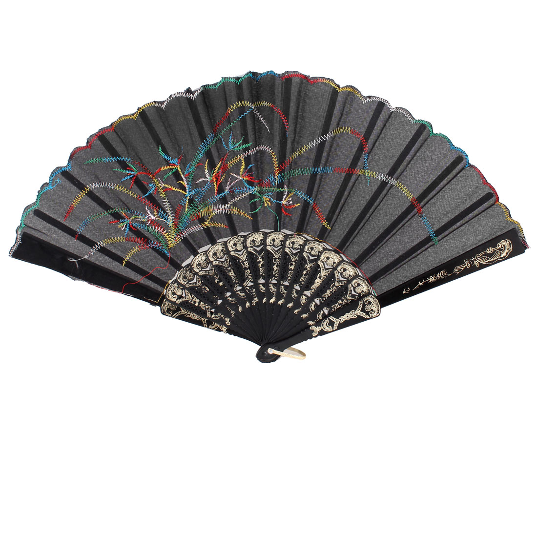 Colorful Grass Printed Gold Tone Plastic Frame Design Folding Hand Fan