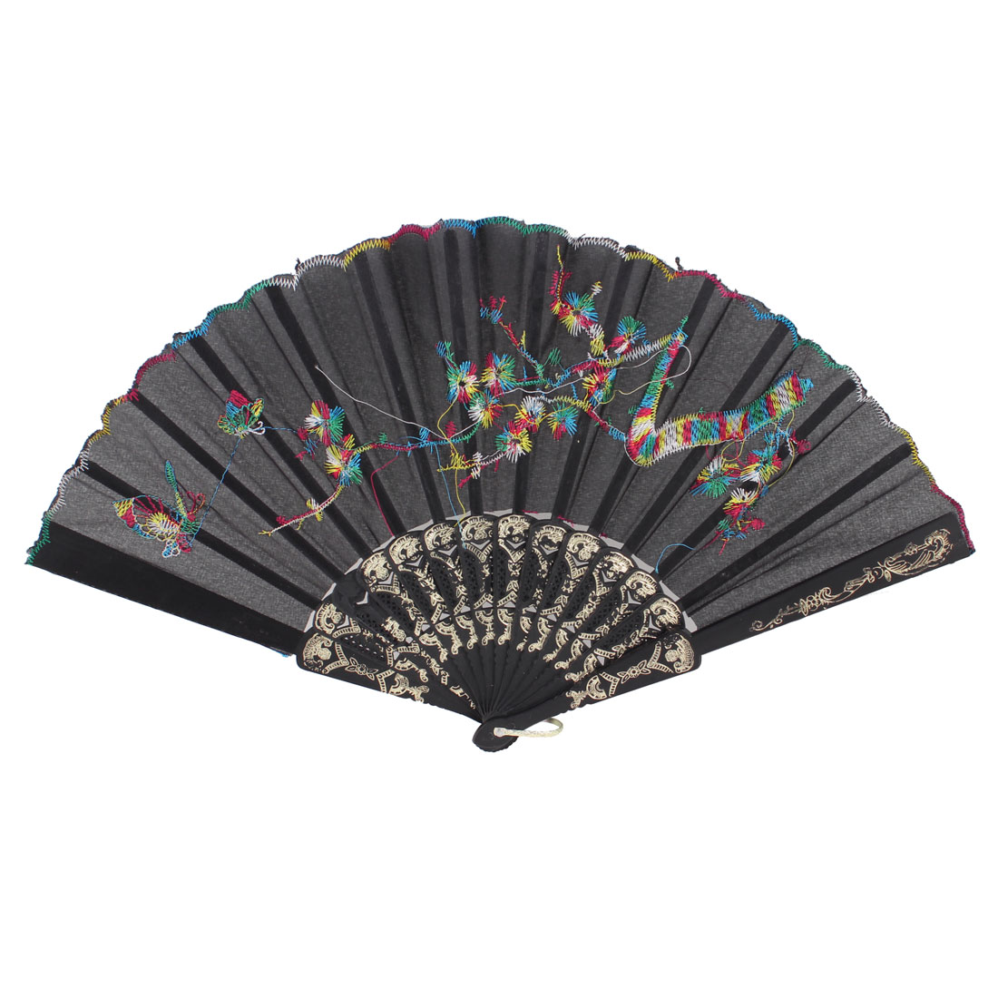 Flower Mountain U Ring Pattern Plastic Frame Organza Folding Hand Fan