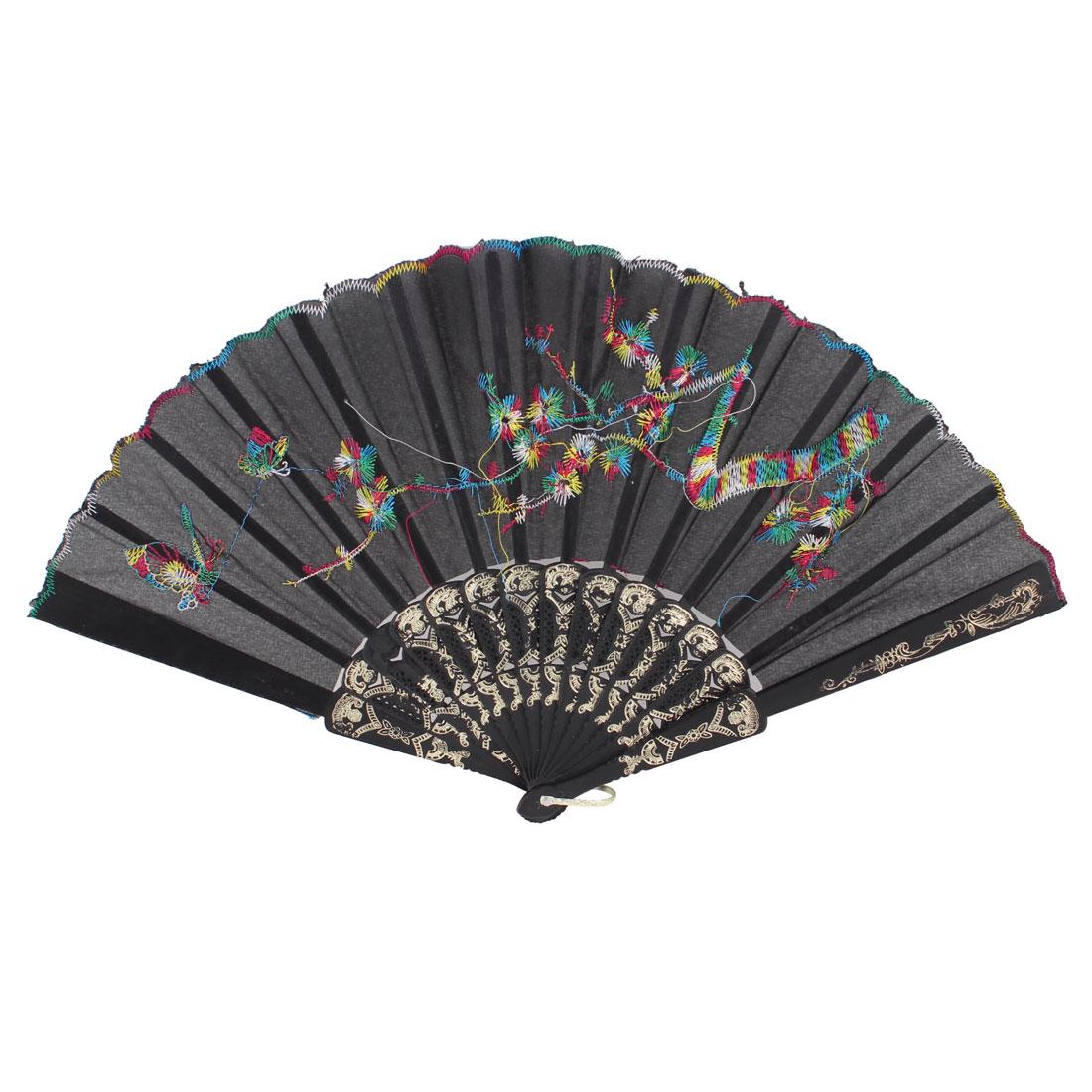 Flower Mountain U Ring Pattern Plastic Frame Organza Folding Hand Fan