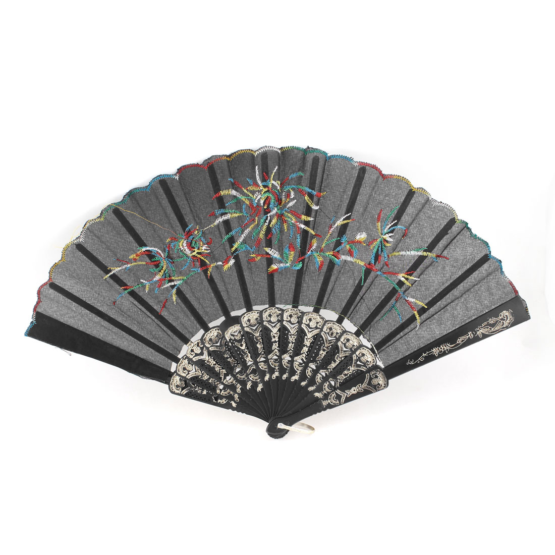 Lily Vine Printed Plastic Ribs Metal Loop Folding Hand Fan Black