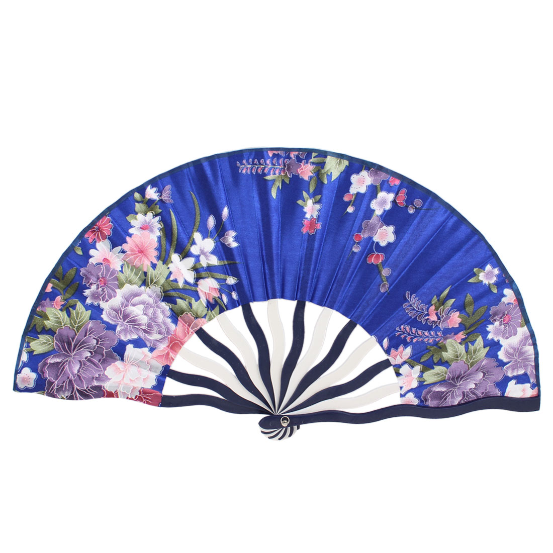 Lifelike Tricolor Flower Printed Wooden Chinese Hand Fan