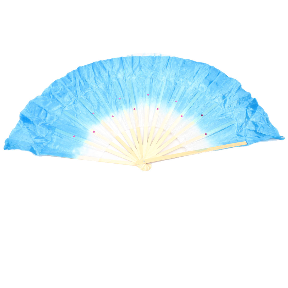 Sky Blue Fabric Bamboo Frame Foldable Decor Hand Dancing Fan