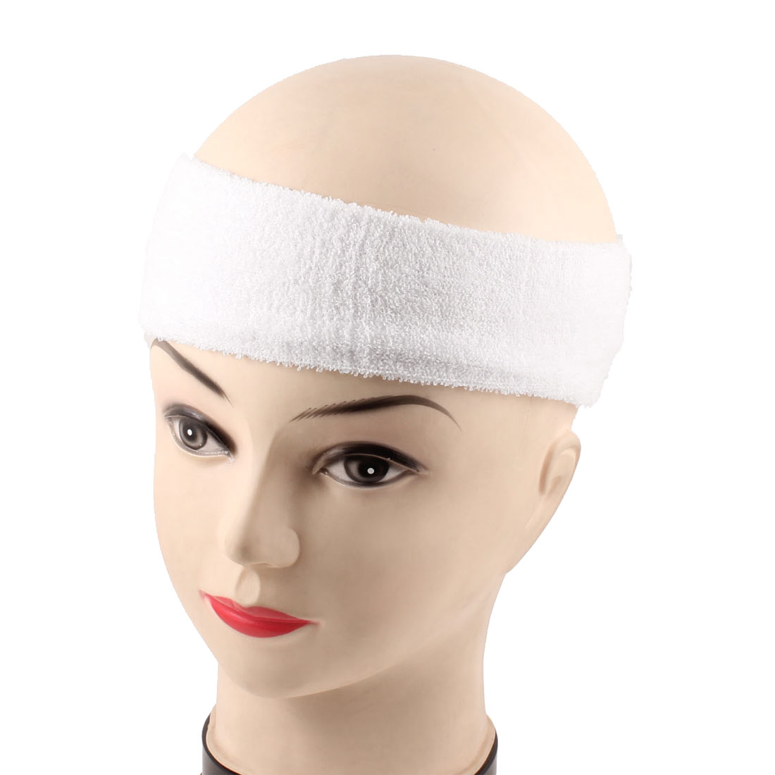 2 Pcs Tennis Exercises Protective Stretchy Terry Head HeadBand White