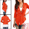 Women Long Sleeve Double-Breasted Front Closure Dark Orange Blazer M