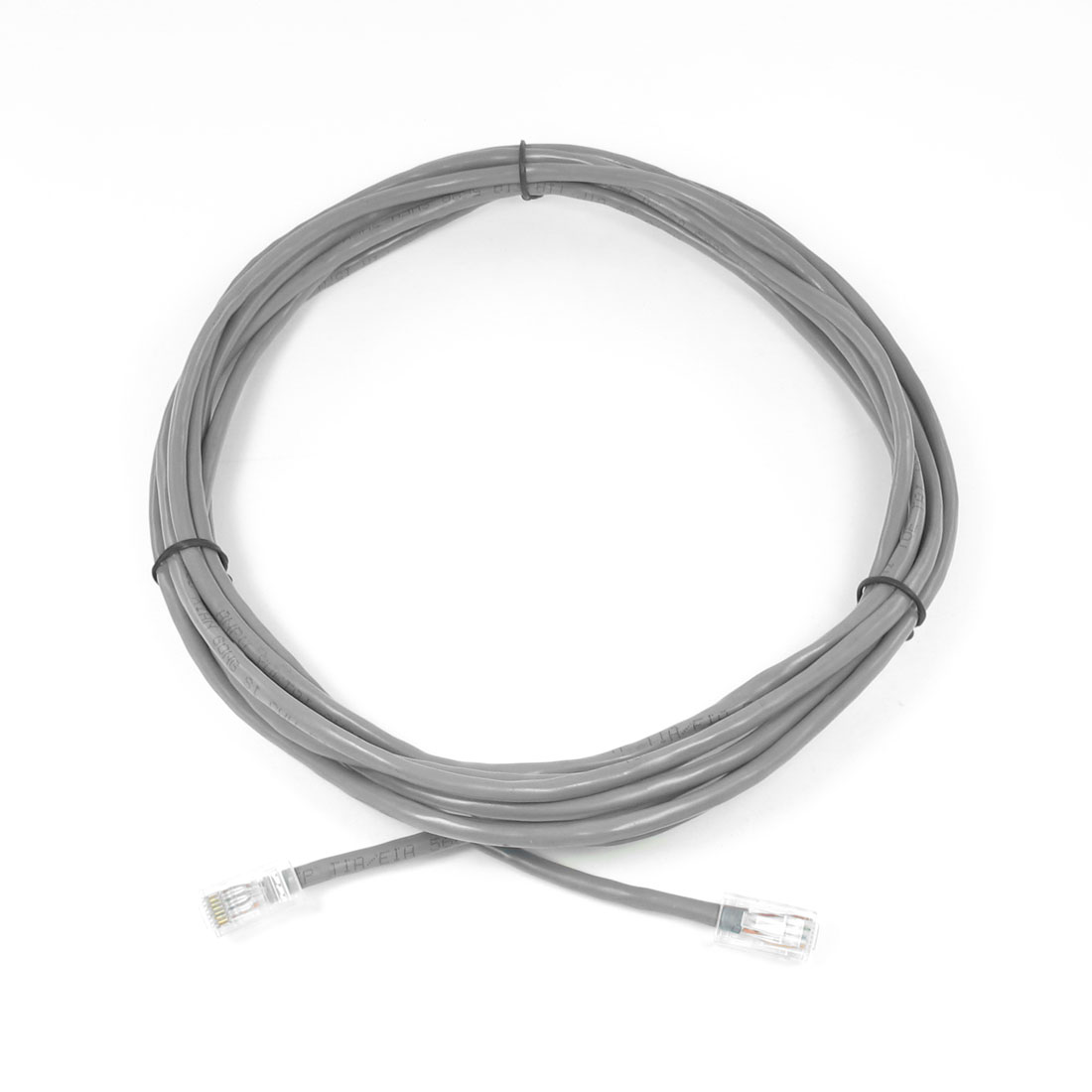 Gray RJ45 Plug Flat LAN Patch Cable 15.9ft for Ethernet Router Switch