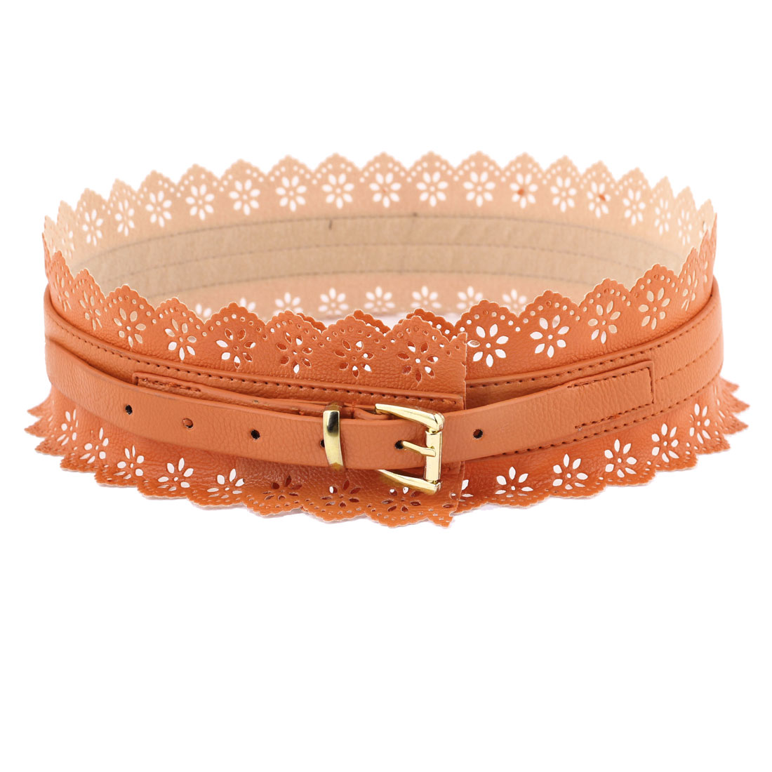 Lady Single Pin Buckle Faux Leather Hollow out Flowers Accent Waist Belt Orange