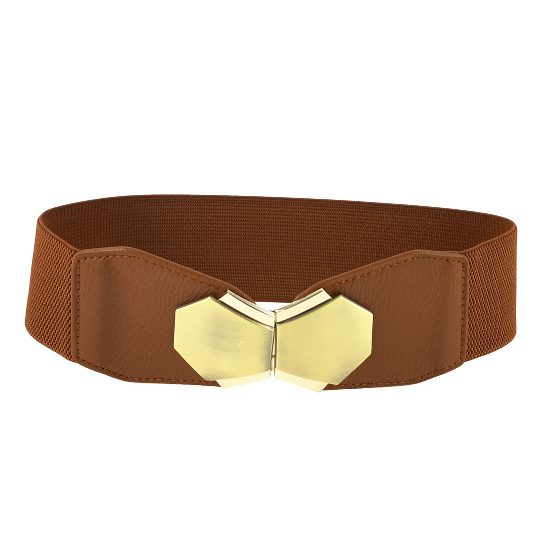Interlocking Closure Brown Faux Leather Stretchy Cinch Waist Belt for Woman