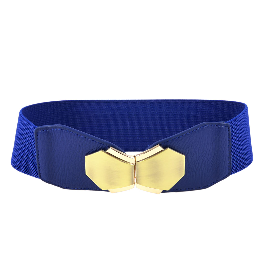 Blue Gold Tone Interlock Buckle Stretch Waistband Cinch Belt 6CM Width for Lady