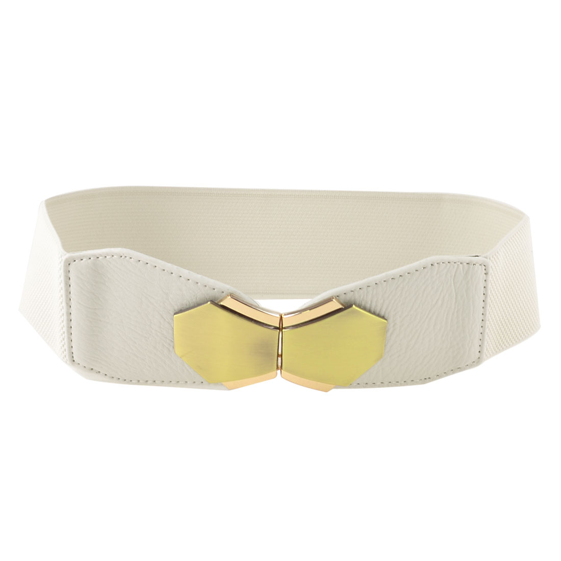 Interlocking Closure White Faux Leather Stretchy Waist Cinch Belt for Women