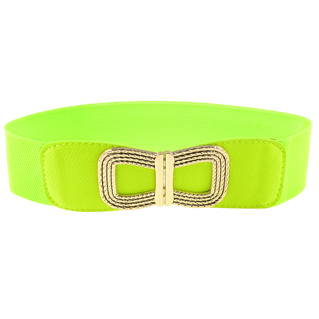 Women Gold Tone Metal Bowknot Decorated Yellow Green Elastic Waist Belt Band