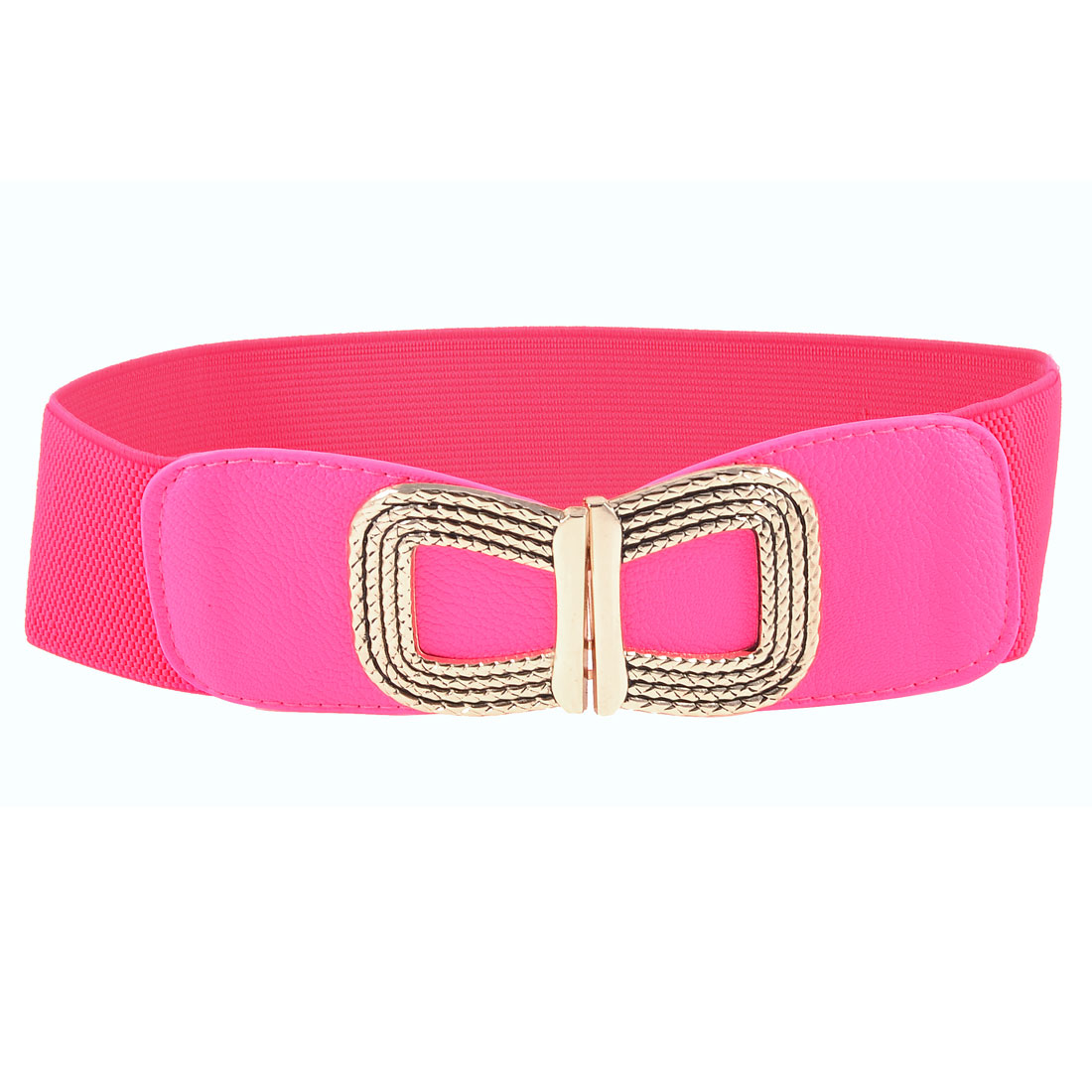 Women Gold Tone Metal Bowknot Decorated Hot Pink Elastic Waist Belt Band