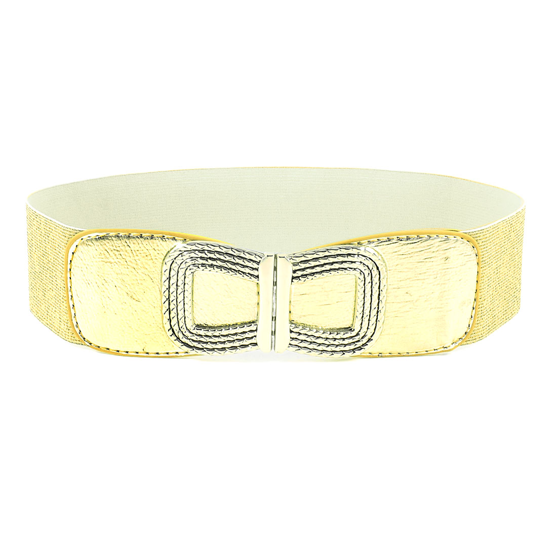 Ladies Gold Tone Metal Bowknot Decorated Elastic Waist Belt Waistband