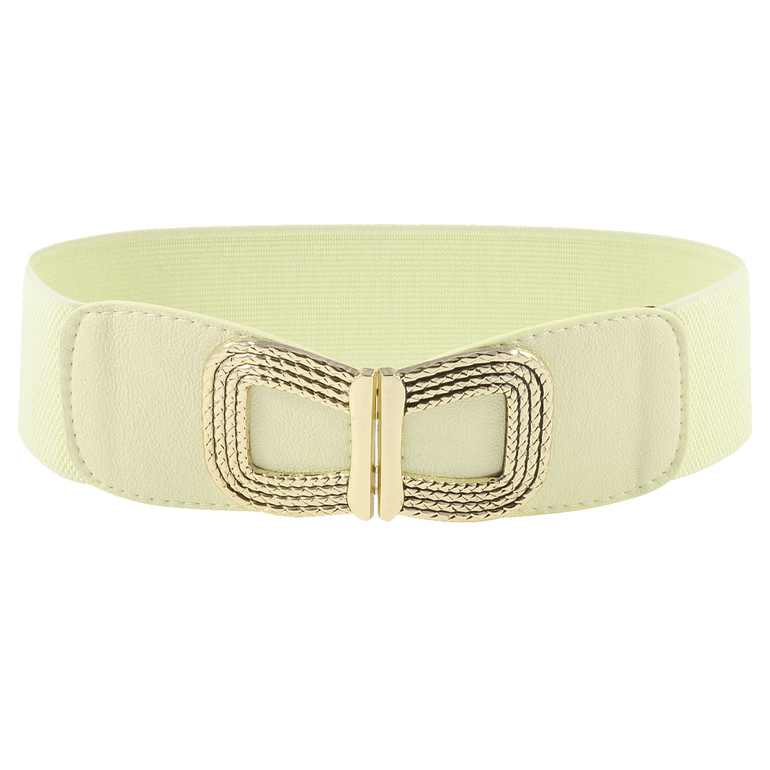 Women Gold Tone Metal Bowknot Decorated Off White Elastic Waist Belt Band
