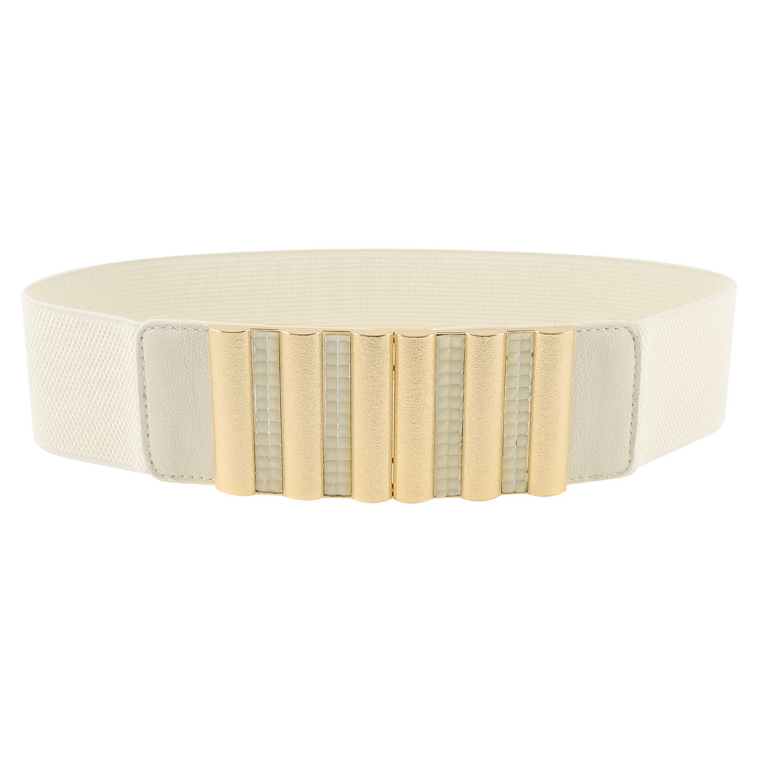 Lady Interlocking Closure Plastic Faceted Beads Detail Beige Stretchy Waist Belt