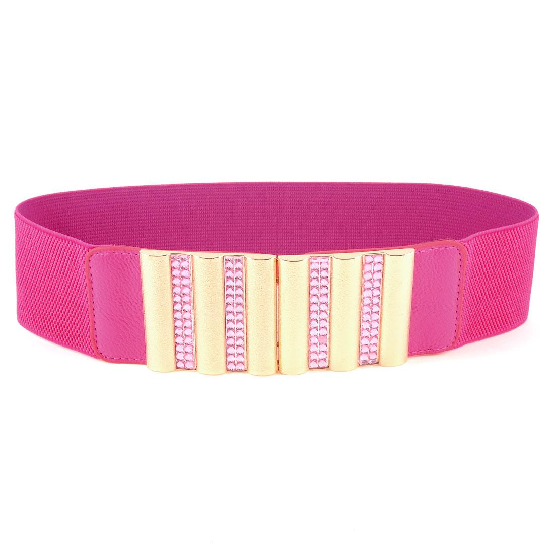 Women Fuchsia Gold Tone Interlock Buckle Elastic Waist Belt Textured Waistband