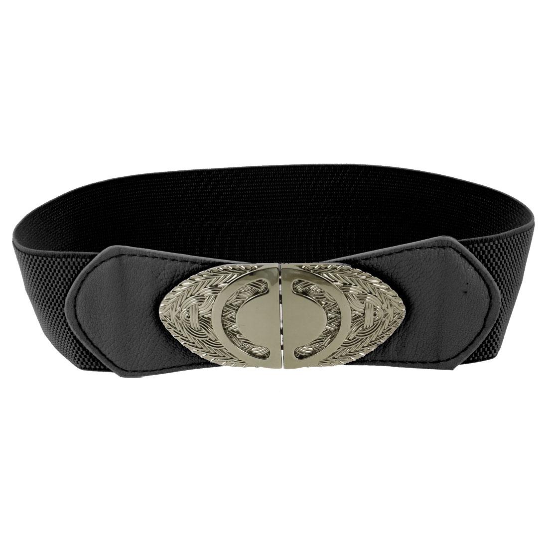 Double D Design Interlock Buckle Elastic Cinch Belt Waistbelt Black for Ladies