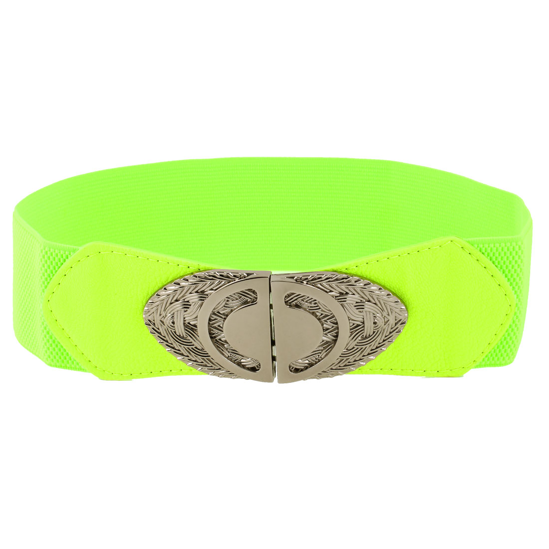 Lady Metal Interlocking Buckle Stretchy Waistbelt Cinch Belt Yellow Green