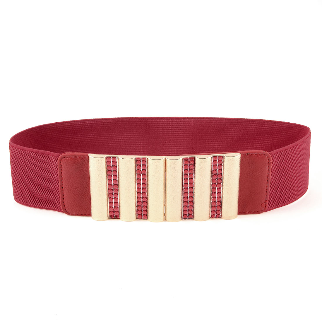 Ladies Interlocking Closure Faux Crystals Detail Stretchy Waist Belt Red Gold Tone