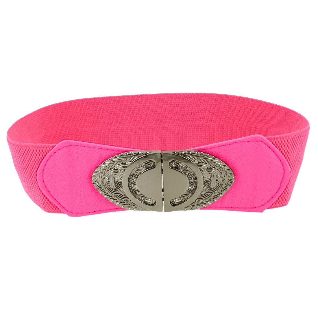 Lady Metal Interlocking Buckle Stretchy Waistbelt Cinch Belt Hot Pink
