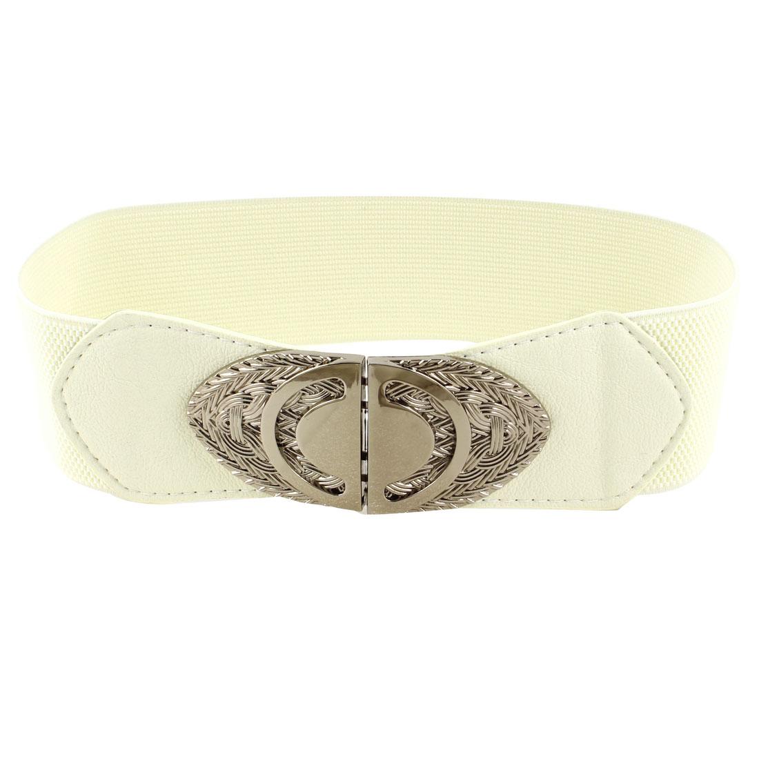 Double D Design Interlock Buckle Stretched Waistbelt Beige for Ladies