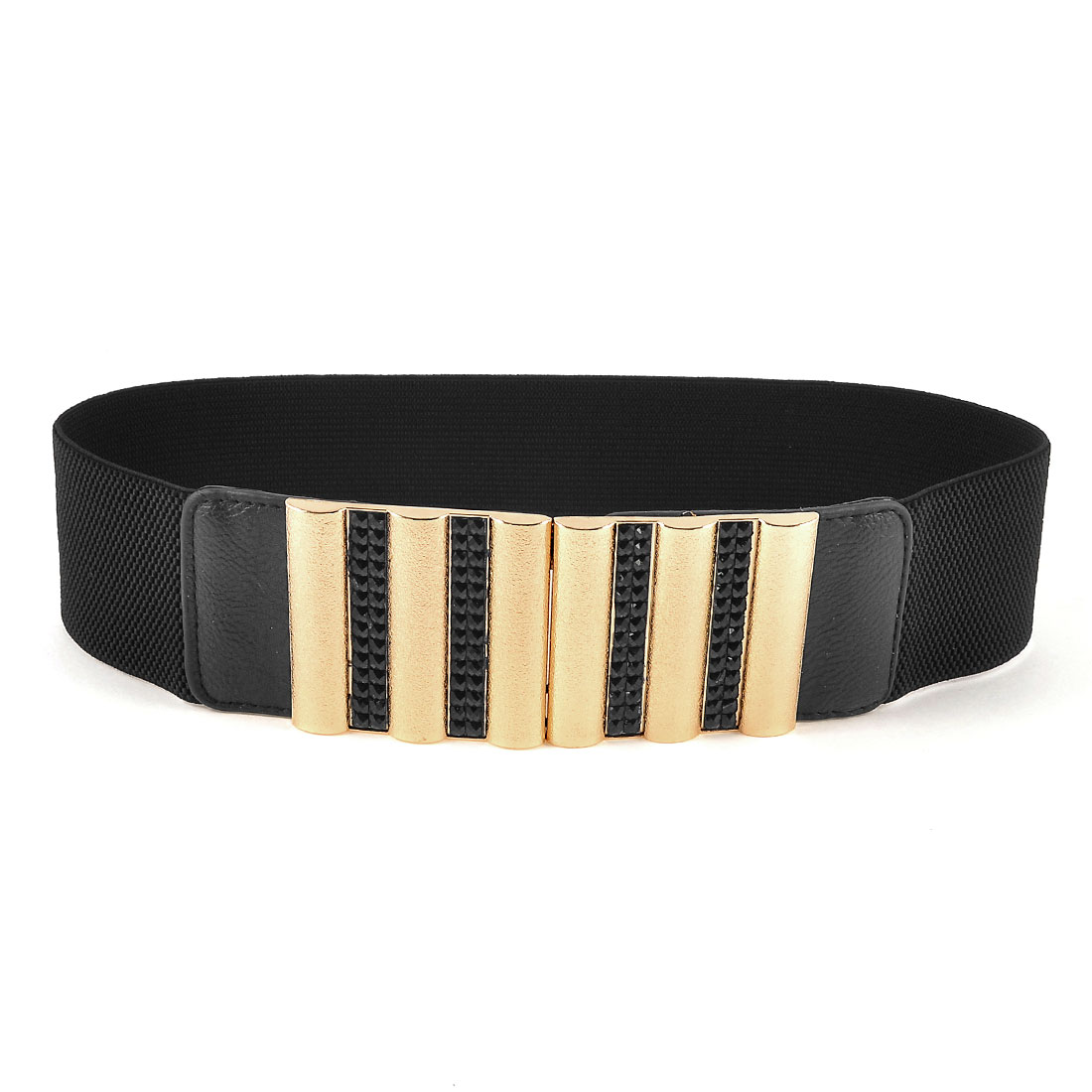 Women Interlock Buckle Black Plastic Beads Inlaid Elastic Waist Belt Waistband