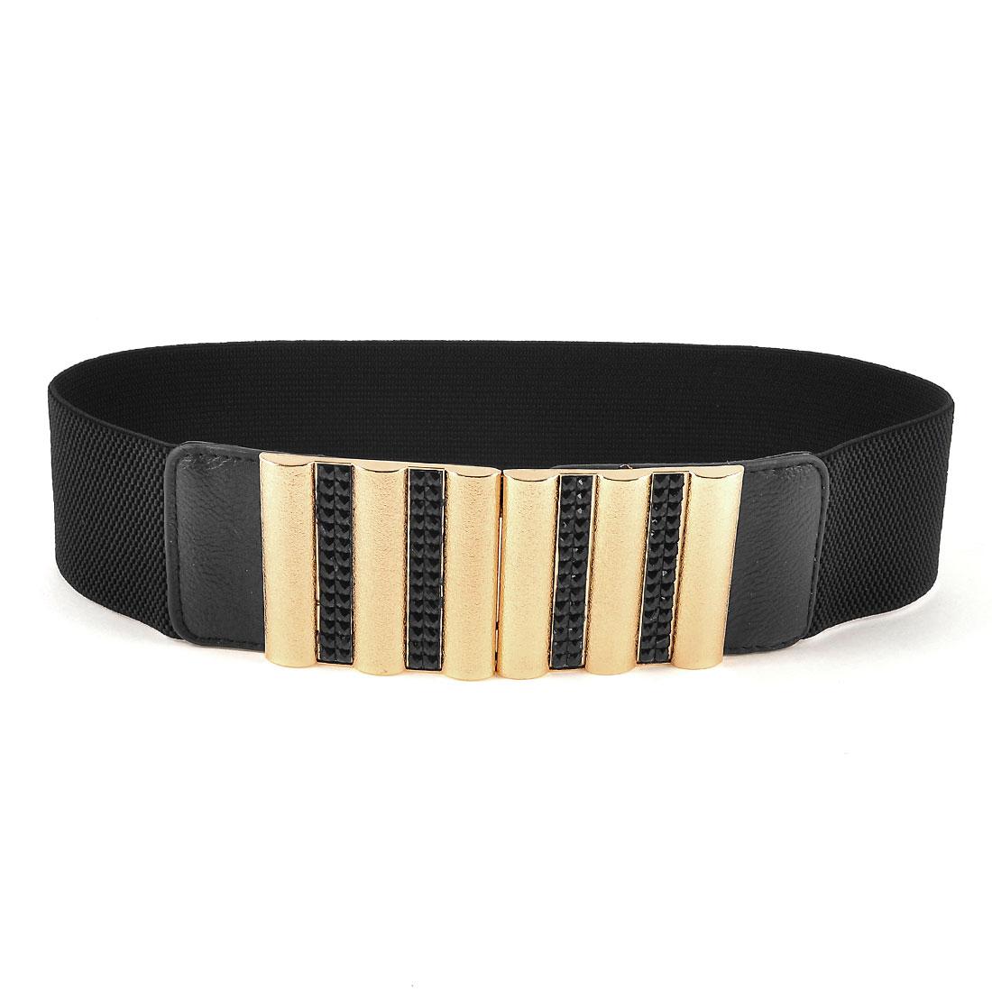 Women Interlock Buckle Black Plastic Beads Inlaid Elastic Waist Belt Waistband
