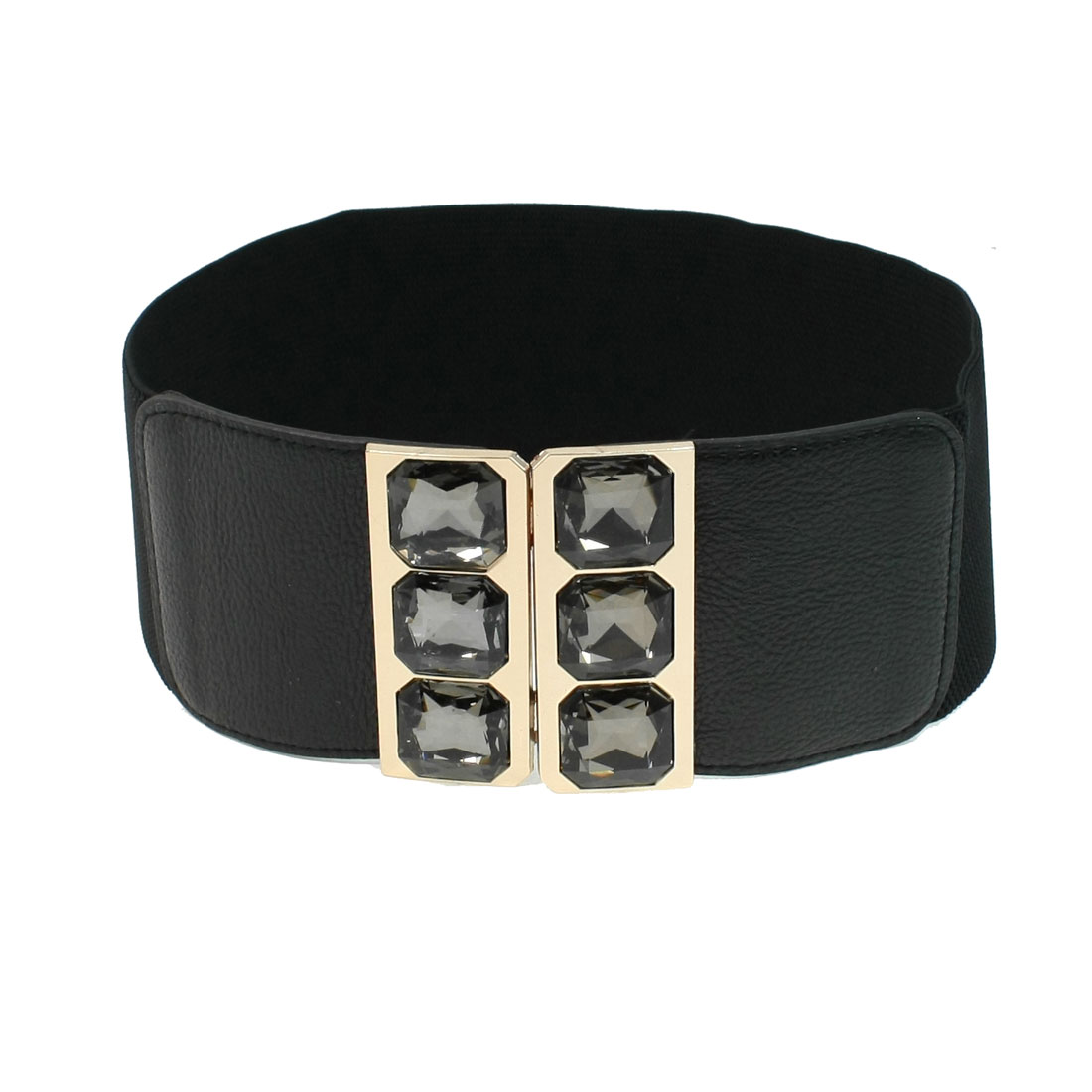 Crystal Interlock Buckle Faux Leather Black Textured Elastic Belt for Woman