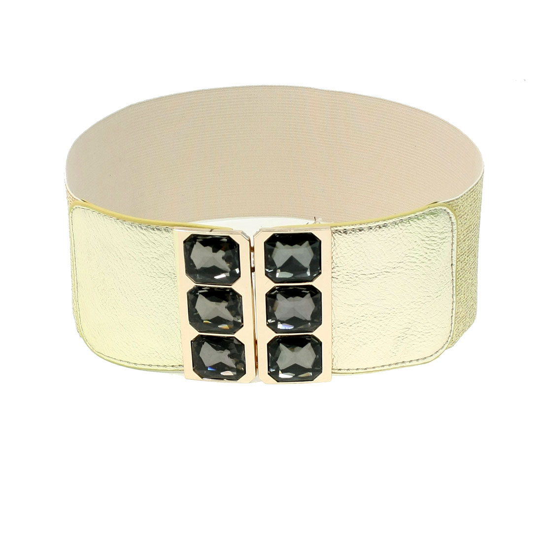 Faceted Crystal Interlocking Buckle 8cm Wide Elastic Cinch Belt Gold Tone