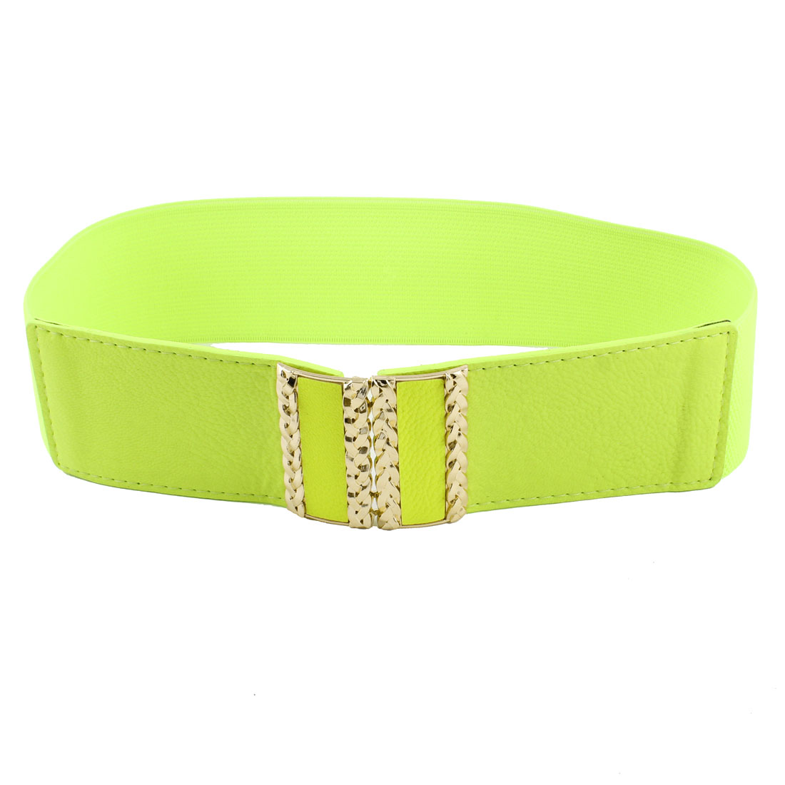 Rectangle Interlocking Buckle Faux Leather Stretchy Cinch Belt Light Green for Women