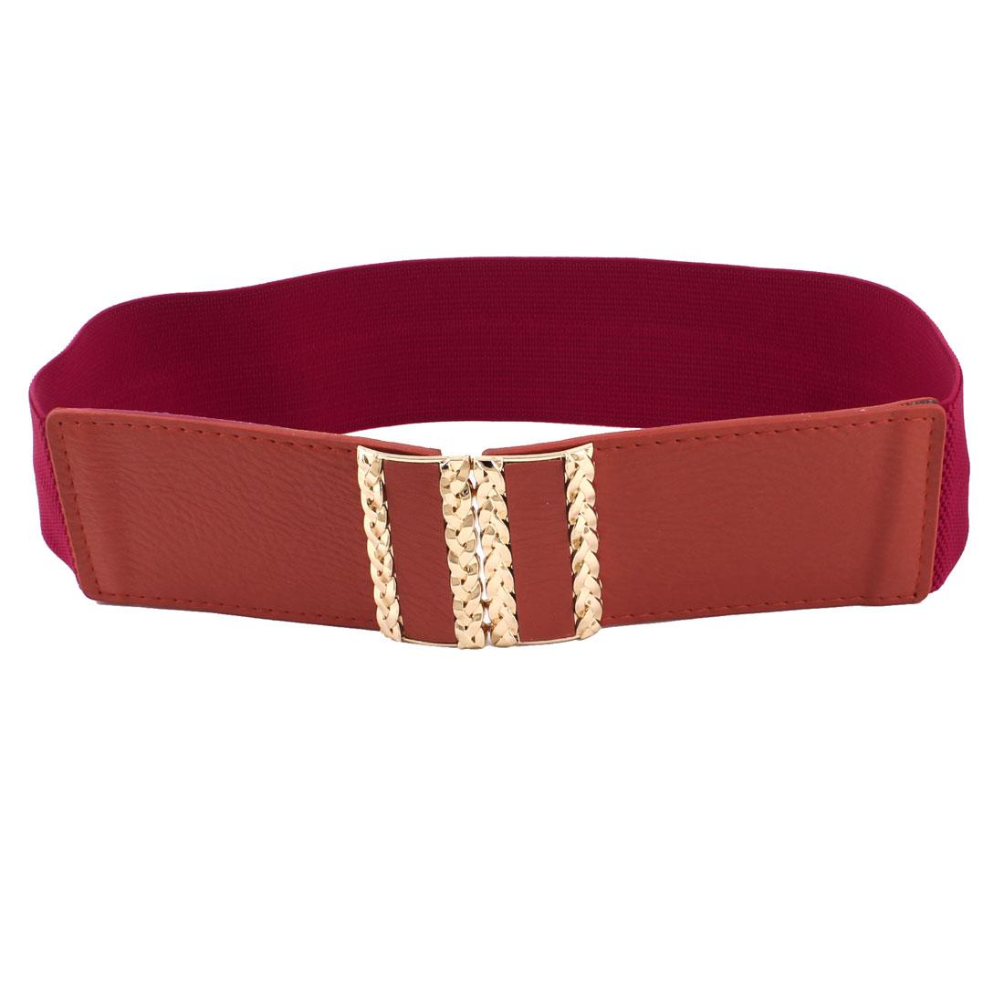 Woman Lady Interlock Buckle 6cm Width Elastic Blouse Ornament Waistbelt Red