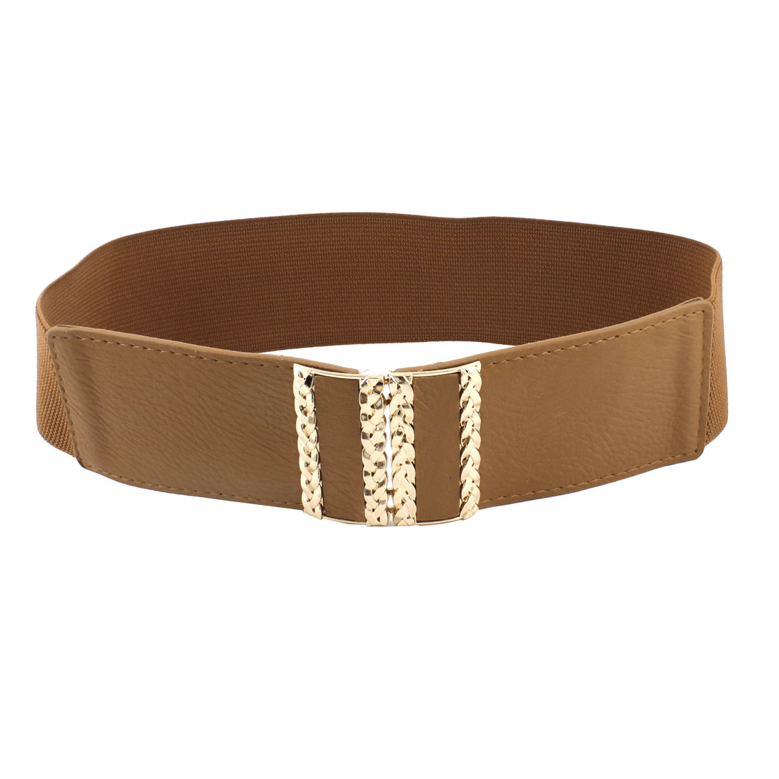 Rectangle Interlocking Buckle Faux Leather Stretchy Cinch Belt Brown for Women