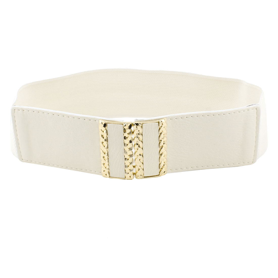 Ladies Rectangle Metal Buckle 6cm Wide Waistband Stretchy Cinch Belt Off White