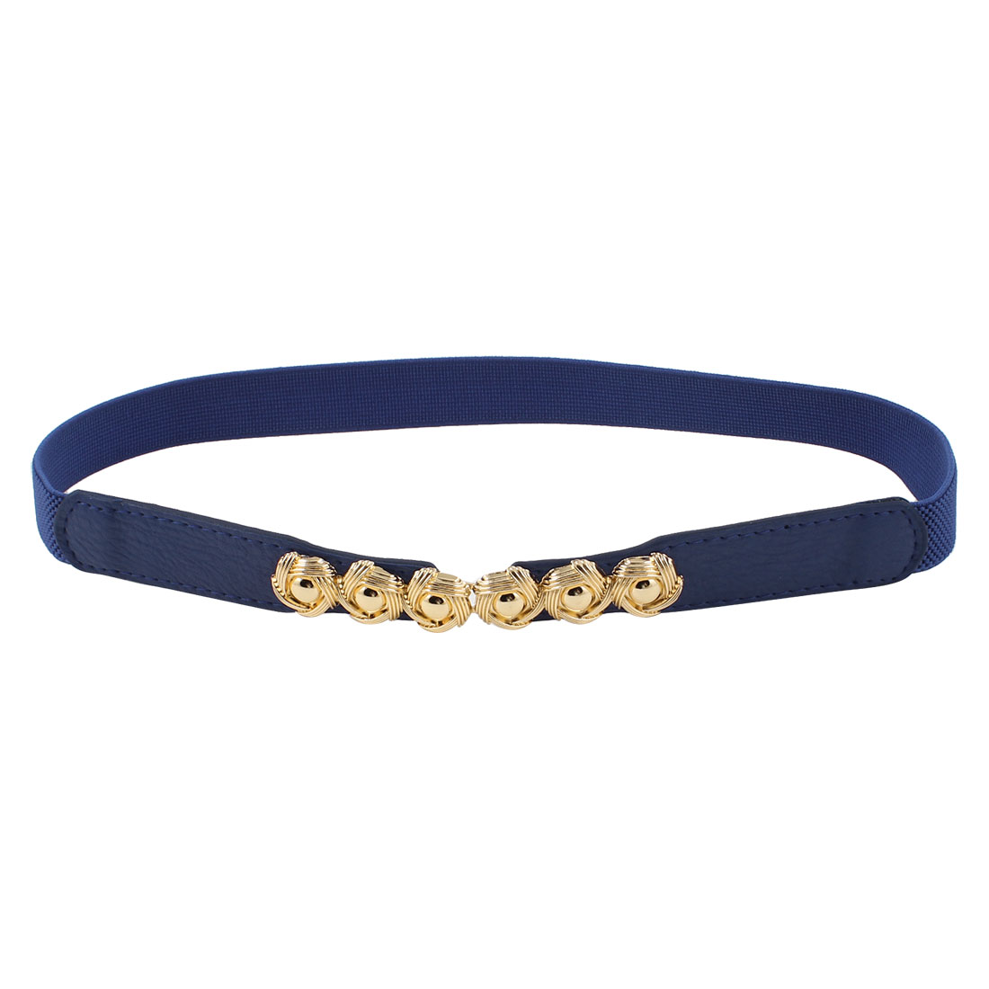 Women Metal Interlocking Buckle Elastic Faux Leather Slim Belt Blue