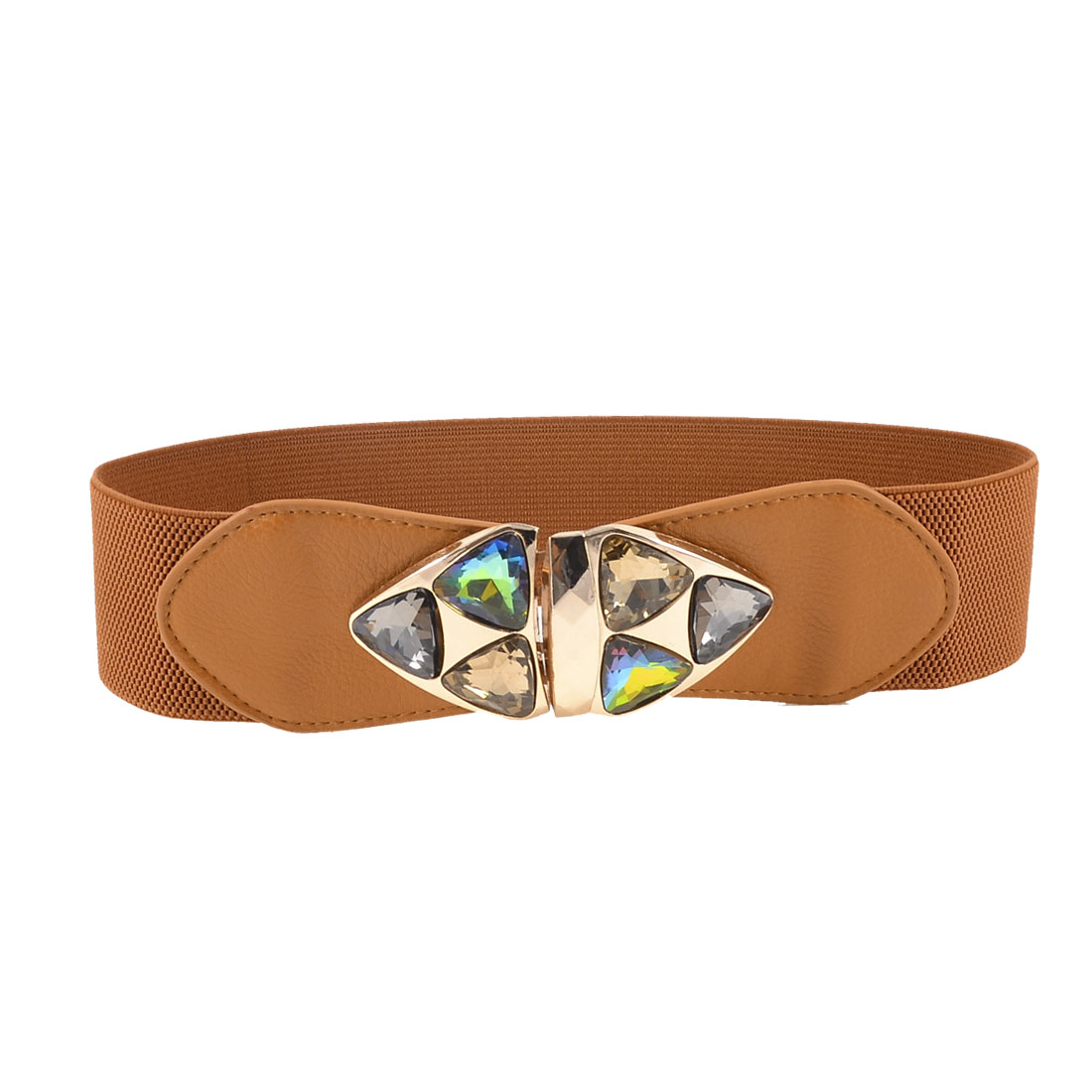 Women Faceted Glass Crystal Metal Triangle Decor Brown Elastic Waist Belt Band