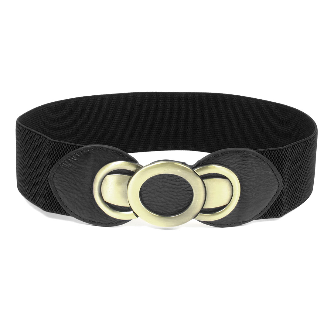 Faux Leather Band Double C Interlocking Buckle Waist Belt for Woman Black