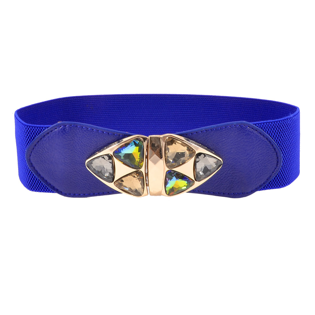 Women Faceted Glass Crystal Metal Triangle Decor Blue Elastic Waist Belt Band