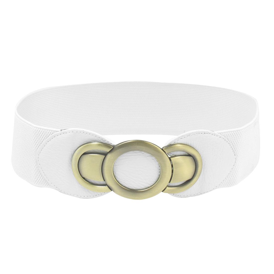 Strechy Metal Interlocking Buckle Accent Wide Waist Belt Cinch for Lady White