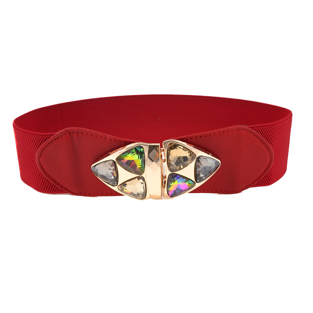 Women Faceted Glass Crystal Metal Triangle Decor Red Elastic Waist Belt Band