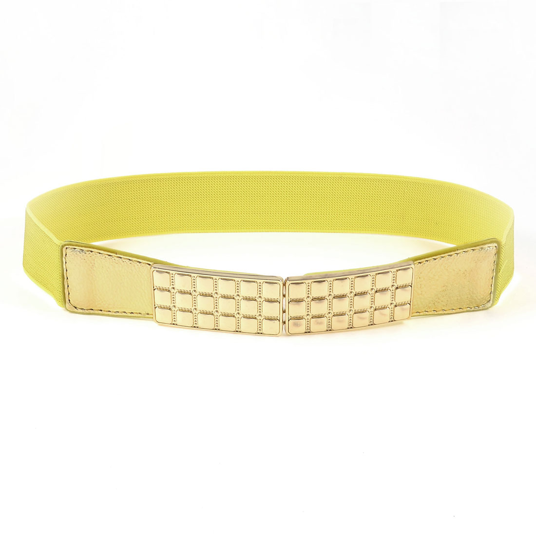 Gold Tone Metal Plate Hook Buckle Yellow Elastic Waist Belt for Women