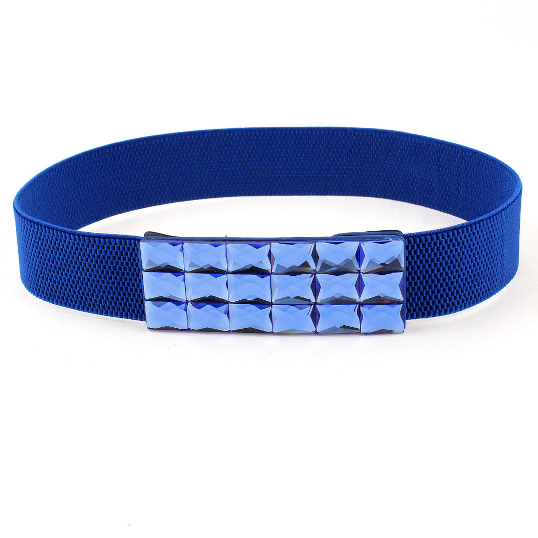 Woman Faux Crystal Decor Buckle Elastic Fabric Waistbelt Cinch Belt Dark Blue