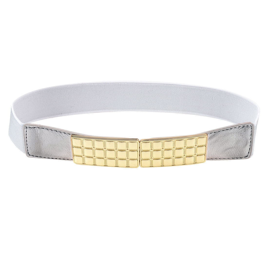Women Metal Plate Decor Hook Buckle Silver Tone Elastic Waist Band Belt