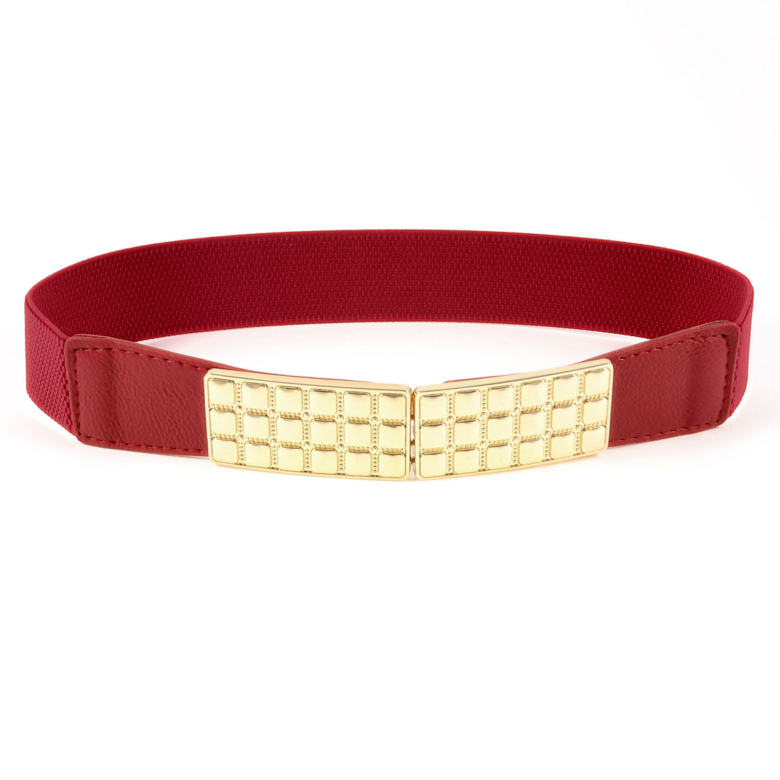 Ladies Gold Tone Metal Plate Hook Buckle Red Elastic Waist Cinch Belt