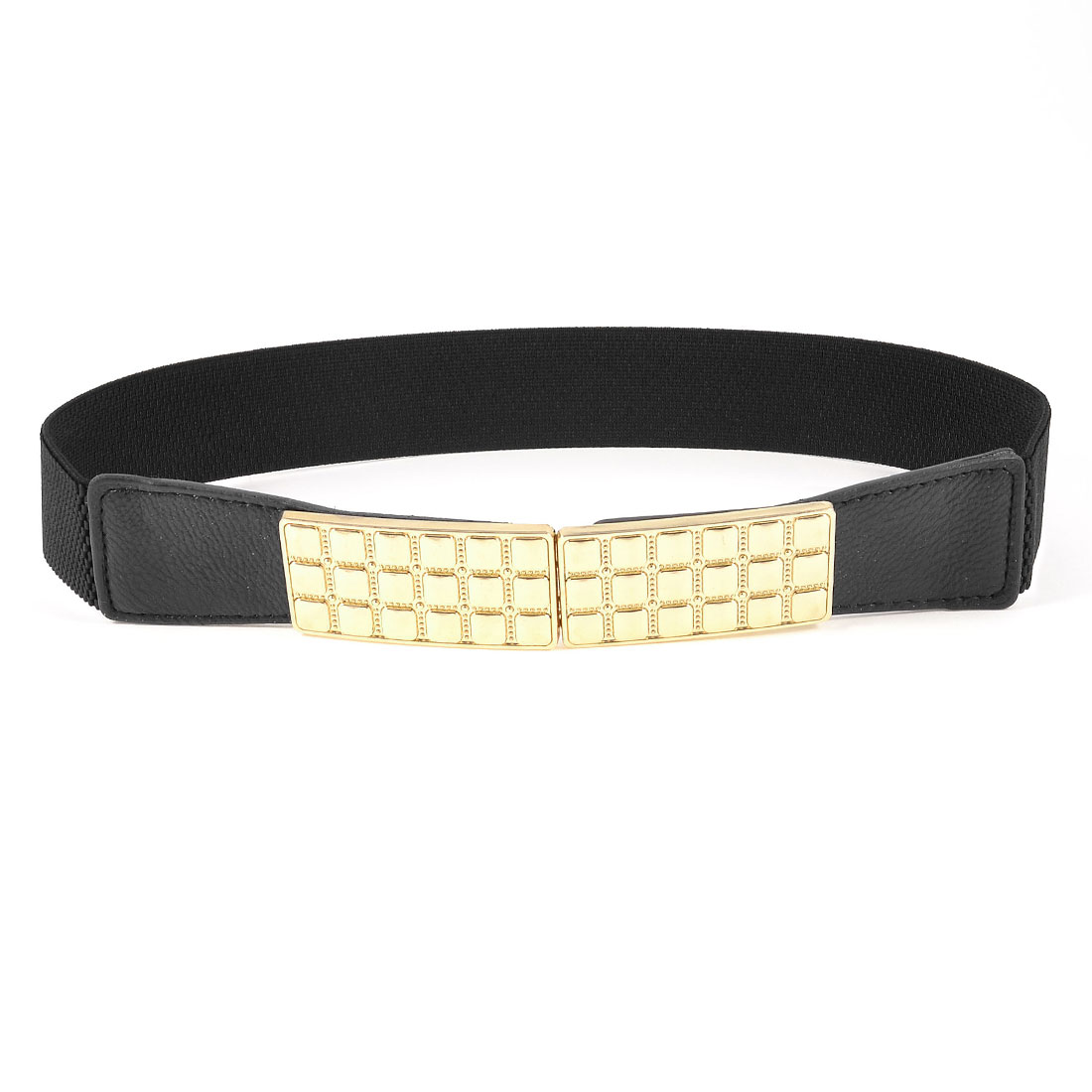 Lady Gold Tone Metal Plate Hook Buckle Black Elastic Waist Band Belt