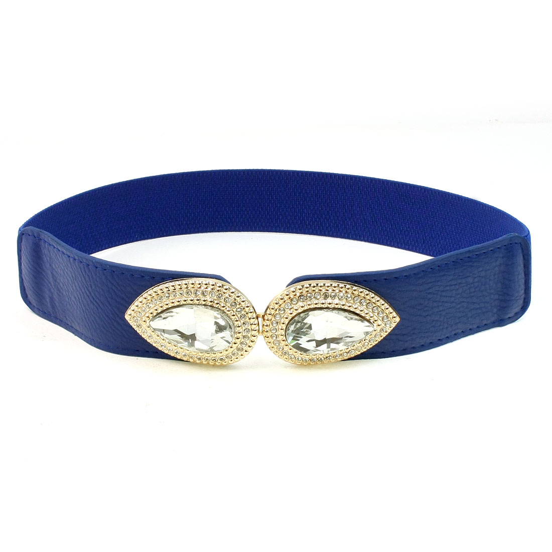 Faux Leather Crystal Metal Interlock Buckle Stretchy Waist Belt Blue for Lady
