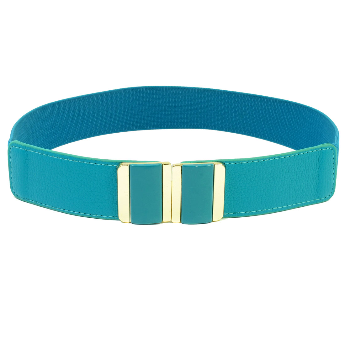 Cyan Retangle Design Interlocking Buckle Elastic Waistband Waist Belt for Lady