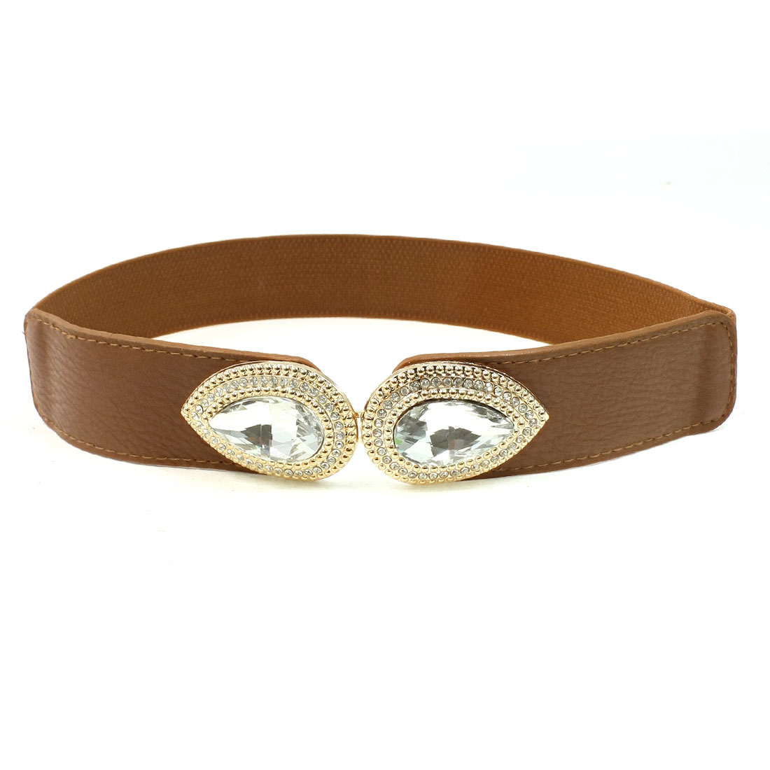 Faceted Crystal Accent Interlocking Buckle Wide Elastic Belt Brown for Women