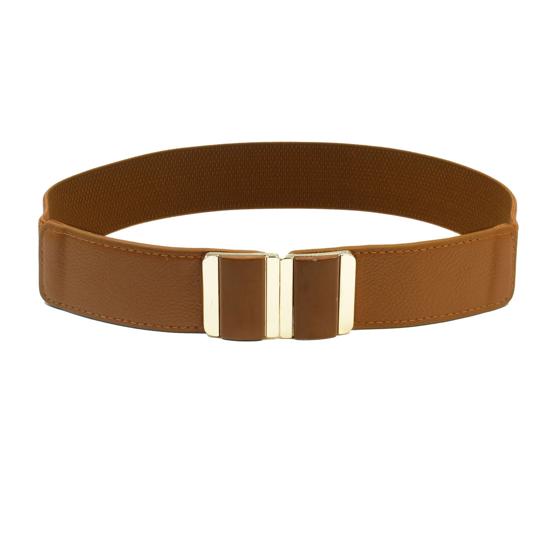 Brown Dual Retangle Shape Waistbelt Cinch Belt Dress Ornament for Women