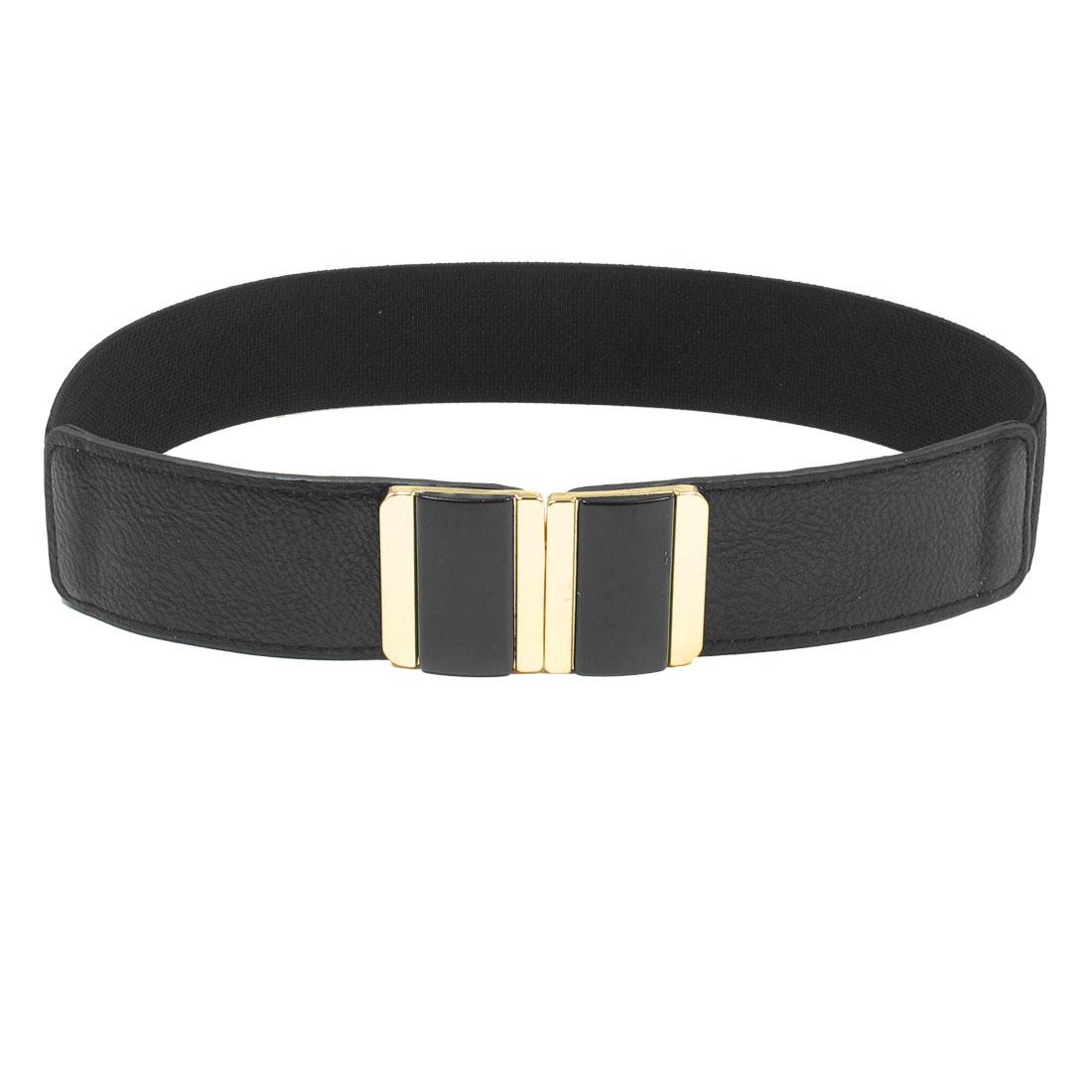 Rectangle Shaped Interlocking Buckle Black Elastic Waist Belt for Lady