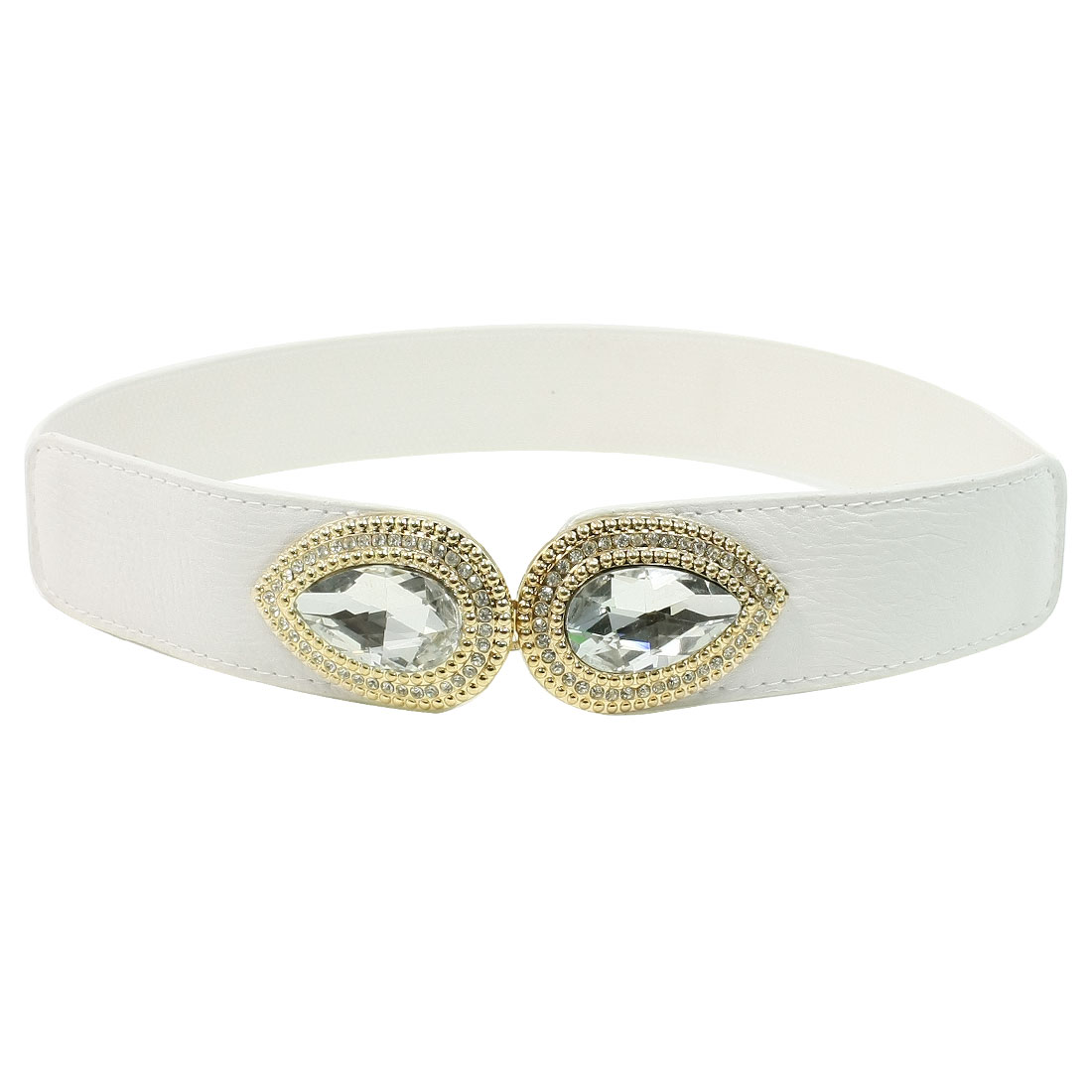 White Leaf Shaped Crystal Interlock Buckle Textured Elastic Cinch Belt Band